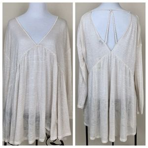 Lucky Brand long sleeve oversized sheer top